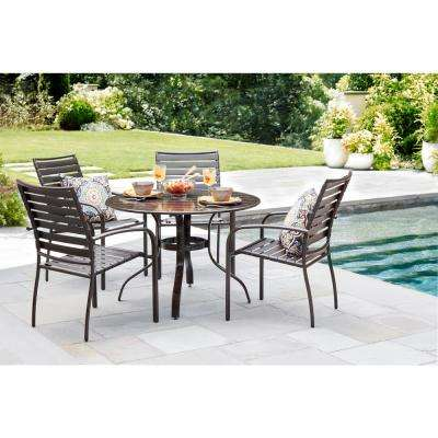 40 in. Commercial Aluminum Round Outdoor Patio Slat Top Dining Table in Brown
