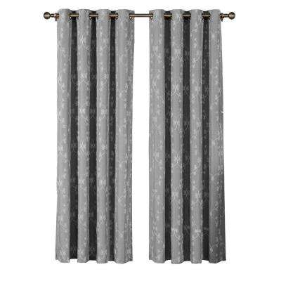 Geo Gate Embroidered Faux Linen Charcoal Grommet Extra Wide Curtain Panel - 54 in. W x 84 in. L (1 Pair)