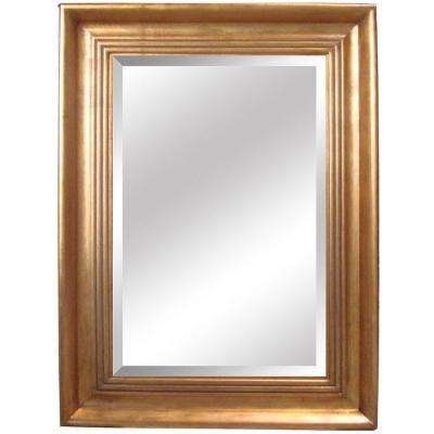 35.5 in. x 47 in. Rectangular Decorative Antique Gold Wood Framed Mirror