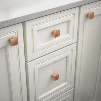 Simply Geometric 1-1/8 in. (28mm) Brushed Copper Square Cabinet Knob