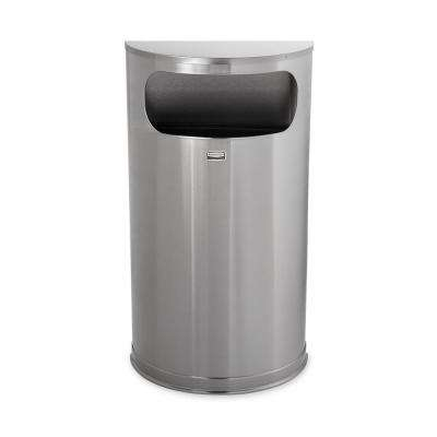 Rubbermaid Commercial Products 9 Gal. Satin Stainless Steel Half-Round Open Side Fire-Safe Trash Can