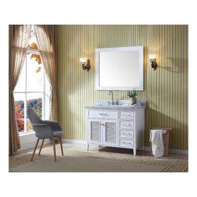 Kensington 43 in. Bath Vanity in White with Marble Vanity Top in Carrara White with White Basin