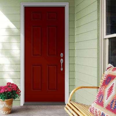 36 in. x 80 in. 6-Panel Mesa Red Painted Steel Prehung Left-Hand Inswing Front Door w/Brickmould