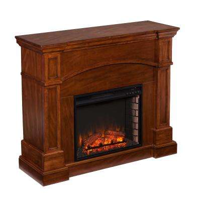 White Plains 45.75 in. W Corner Convertible Electric Fireplace in Oak Saddle