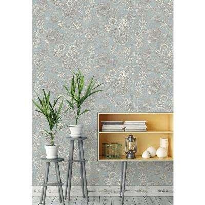 56.4 sq. ft. Hedgerow Light Blue Floral Trails Wallpaper
