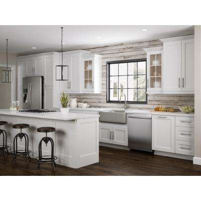 Newport Assembled 36 in. x 34.5 in. x 24 in. Sink Base Kitchen Cabinet with False Drawer Front in Pacific White