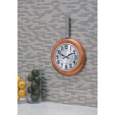19 in. x 11 in. Metallics Frying-Pan-Inspired Round Wall Clock with Silver Face and Copper-Finished Rim