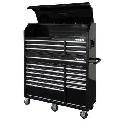 52 in. 18-Drawer Tool Chest and Cabinet Set, Black
