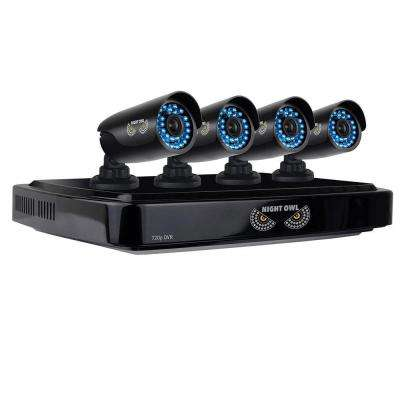8-Channel 720p Security System with 1 TB HDD Surveillance DVR, 4 x 720p Bullet Cameras Refurbished