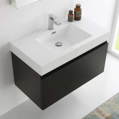 Mezzo 36 in. Vanity in Black with Acrylic Vanity Top in White with White Basin and Mirrored Medicine Cabinet