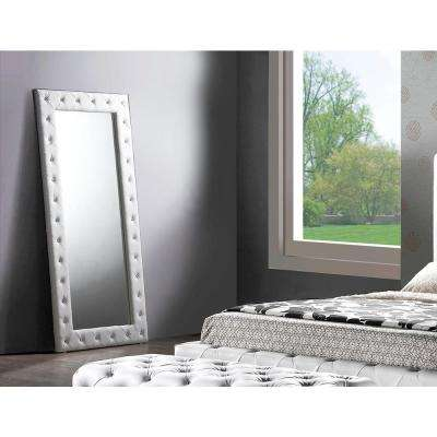Stella 71 in. H x 31 in. W Contemporary Crystal Tufted Faux Leather White Modern Floor Mirror