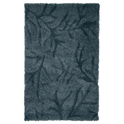 Everest Shag Flowers Blue 3 ft. 3 in. x 5 ft. Area Rug