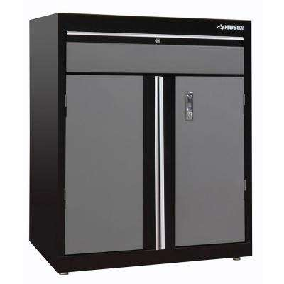 2-Shelf Steel Base Cabinet in Black/Grey