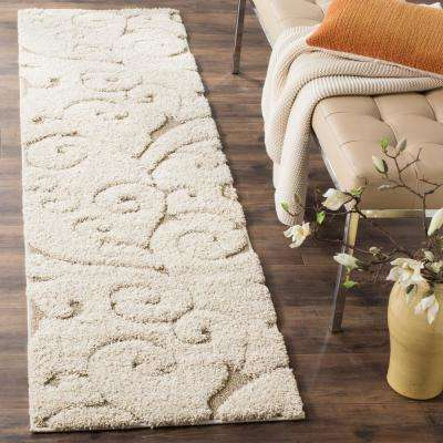 Florida Shag Cream/Beige 2 ft. x 11 ft. Runner Rug