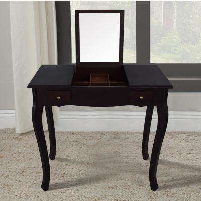 Emilie Dark Walnut Vanity Table with Mirror