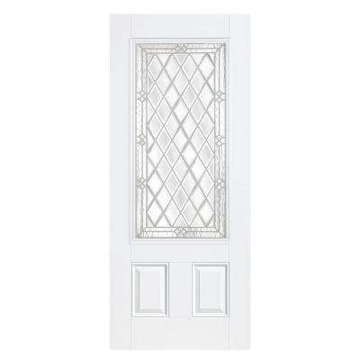 36 in. x 80 in. Halifax Three Quarter Rectangle Primed Smooth Fiberglass Prehung Front Door with No Brickmold