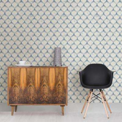 56.4 sq. ft. Bowery Blue Ogee Wallpaper