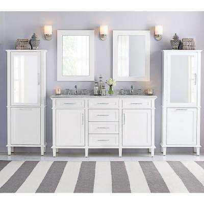 Sonoma 60 in. W x 22 in. D Double Bath Vanity in White with Carrara Marble Top with White Sinks