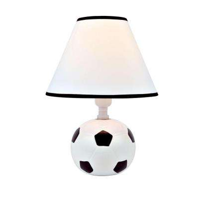 Designer Collection 11.5 in. Soccer Ball Ceramic Table Lamp with White Fabric Shade