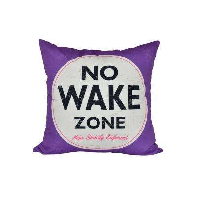 16 in. x 16 in. Purple Nap Zone Word Print Pillow