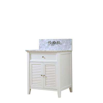 Shutter Premium 32 in. Vanity in White with Marble Vanity Top in White Carrara with Basin