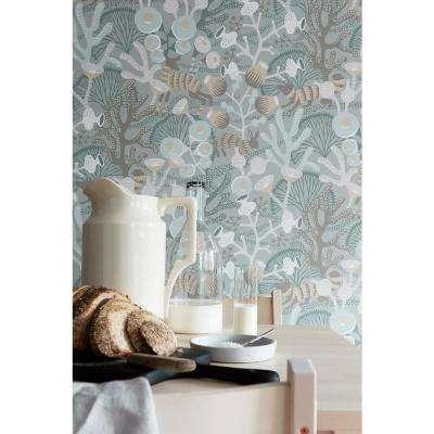 57.8 sq. ft. Korall Teal Meadow Wallpaper