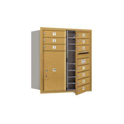 3700 Series 34 in. 9 Door High Unit Gold Private Front Loading 4C Horizontal Mailbox with 10 MB1 Doors/1 PL6