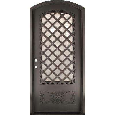 46 in. x 97.5 in. Luce Lattice Classic 3/4 Lite Painted Oil Rubbed Bronze Wrought Iron Prehung Front Door