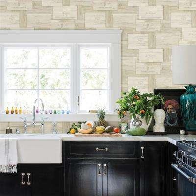 56.4 sq. ft. Randolph Cream Wine Boxes Wallpaper