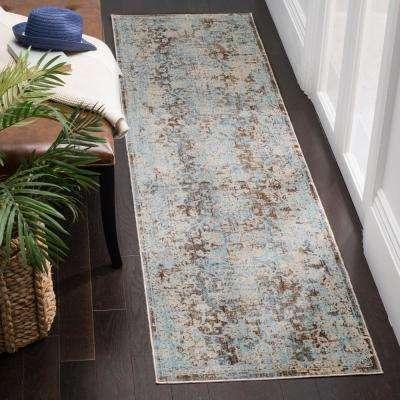 Vintage Persian Brown/Light Blue 2 ft. x 10 ft. Runner Rug