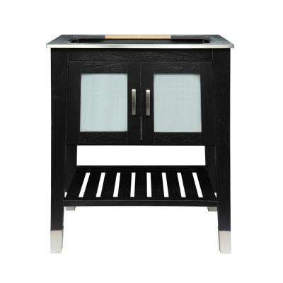 Briana 30.50 in. W x 21.75 in. D x 35.63 in. H Birch Vanity Cabinet Only in Black