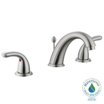 Builders 8 in. Widespread 2-Handle High-Arc Bathroom Faucet in Brushed Nickel