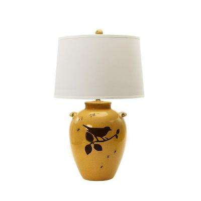 28 in. Shabby Amber Crackle with Bird Ceramic Table Lamp