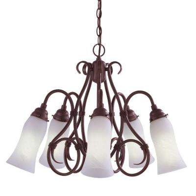 Wyoming Collection Cold River Rust 5-Light Pendant---DISCONTINUED
