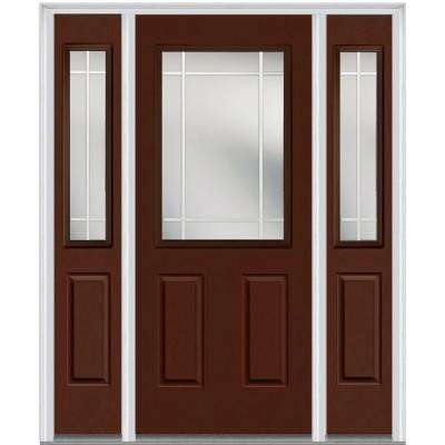 60 in. x 80 in. PIM Left-Hand 1/2 Lite Classic Painted Fiberglass Smooth Prehung Front Door with Sidelites