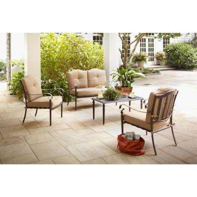 Eastham 4-Piece Patio Deep Seating Set with Beige Cushions
