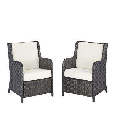 Home Styles Riviera Deep Brown Woven Conversation Patio Chair with Cushions (Set of 2)