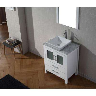 Dior 24 in. W Bath Vanity in White with Vanity Top in with Square Basin and Mirror and Faucet