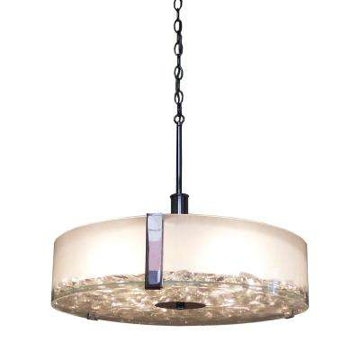 4-Light Chrome Chandelier with Clear Flat Glass Shade
