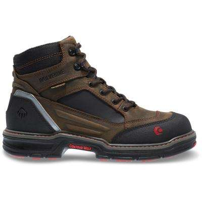 Men's Overman Brown Full-Grain Leather Waterproof Composite Toe Work Boot