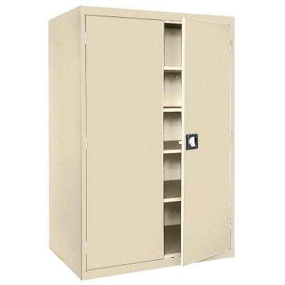 Elite Series 78 in. H x 46 in. W x 24 in. D 5-Shelf Steel Recessed Handle Storage Cabinet in Putty