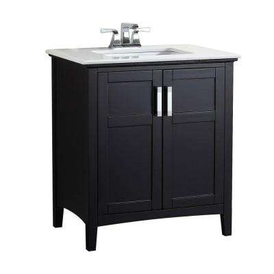Winston 30 in. Vanity in Black with Quartz Marble Vanity Top in White