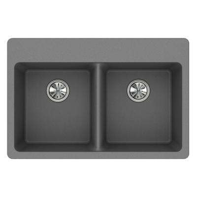 Quartz Classic Drop-In Composite 33 in. Double Basin Kitchen Sink in Greystone