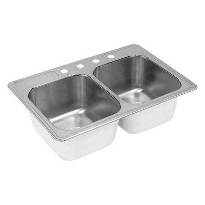 Neptune Drop-In Stainless Steel 33 in. 4-Hole Double Bowl Kitchen Sink
