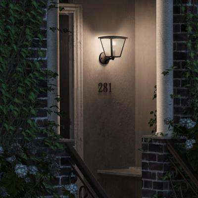 White Inara Black Outdoor LED Wall Lantern Sconce with Smart Wireless A19 Light Bulb
