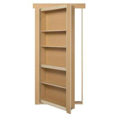 28 in. x 80 in. Assembled Unfinished Paint Grade Flush Mount Bookcase Wood Single Prehung Interior Door