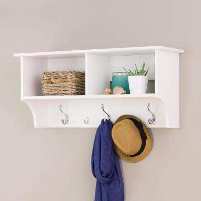 36 in. Wall-Mounted Coat Rack in White