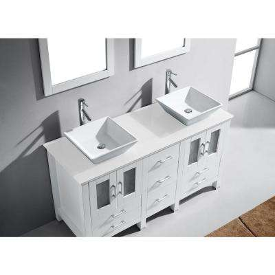 Bradford 60 in. W Bath Vanity in White with Stone Vanity Top in White with Square Basin and Mirror and Faucet