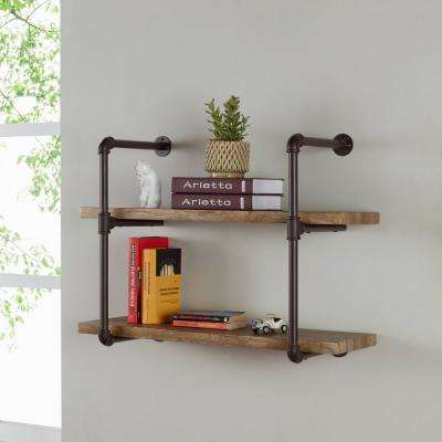 Urbanne Industrial Aged 2-Tiered Wood Print MDF and Metal Pipe Floating Wall Shelf