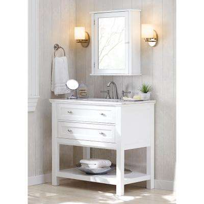 Austell Espresso 37 in. Vanity in Espresso with Natural Marble Vanity Top in White with White Sink